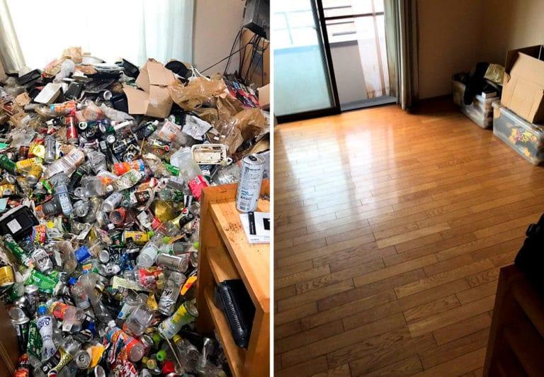 Уборка квартиры с горой мусора