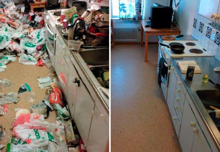 Уборка очень грязной кухни с большим количеством мусора