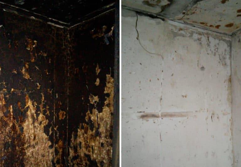 Чистка бетонных стен после пожара
