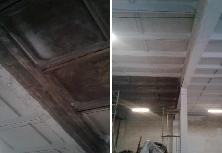 Чистка высоких потолков от сажи