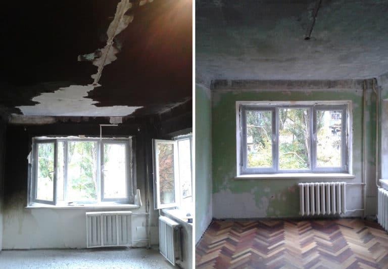 Демонтаж покрытий после пожара в комнате