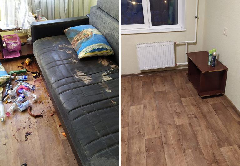 Клининг после покойника с вывозом и утилизацией дивана в Санкт-Петербурге